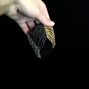 Multi-metallic colored beaded bracelet
